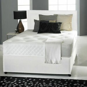3ft 4ft6 double 5ft king white leather divan bed for White double divan bed
