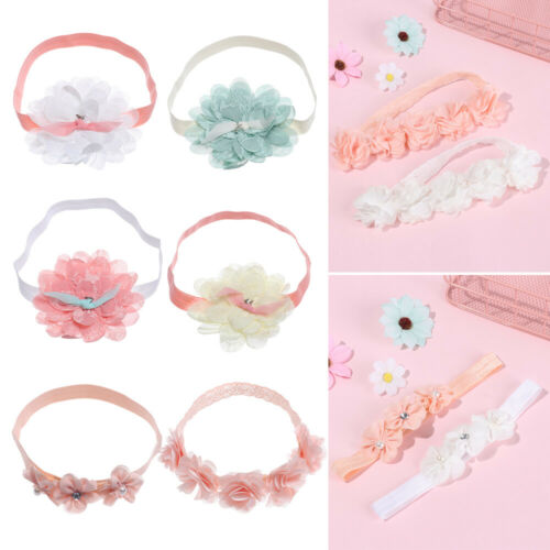 Soft  Princess Baby Girls Chiffon Flower Hair Bands Headband Turban Pink Ribbon