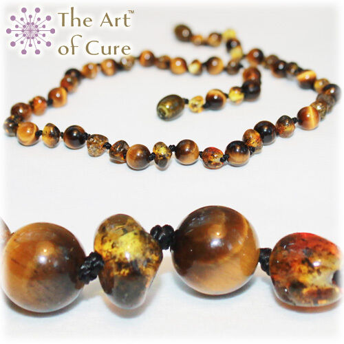 Wholesale lot of 10 Certified Premium Baltic Amber & Tiger Eye Necklaces 12.5 in