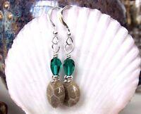 Petoskey Fossil Gem Stone Green Crystal 925 Silver Kirsten Earrings Usa Handmade