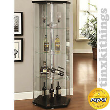 living room glass cabinet. Hexagon Curio Glass Cabinet Display Shelf Storage Living Room Shelves  Modern New Cabinets With Case
