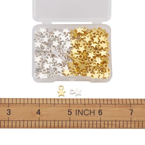 160pcs Tibetan Alloy Star Charms Smooth Mini Metal Pendants DIY Earring 10x8mm