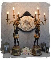 ZWEI VENEZIANISCHE GIRANDOLEN LAMPEN MOHR Leuchte SKULPTUREN TISCHLAMPE 2er Set