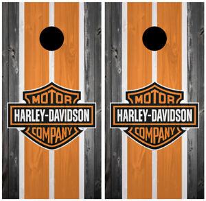 Harley Davidson Skull 2 Cornhole Board Wraps Skins Vinyl Laminated HIGH QUALITY!