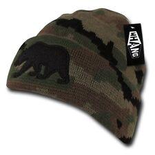 Camo Black California Republic Cali Bear Camouflage Cuff Embroidered Beanie Hat