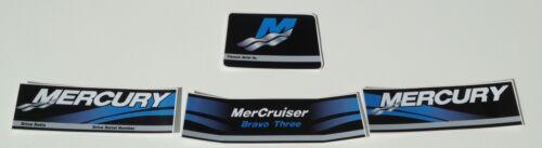 Mercury Decals Mercury Mercruiser  BRAVO THREE Decal  4 piece Set BLUE Version