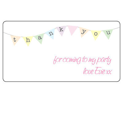 394 35 x Thank You Bunting Cute Personalised Labels Thank You Party Stickers