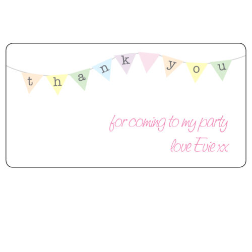 48 x Thank You Birthday Bunting Cute Personalised Labels Party Bag Stickers 038