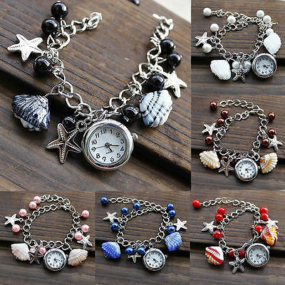 Women Charms Beads Shell Pendant Bracelet Wrist Analog Quartz Round Dial Watch