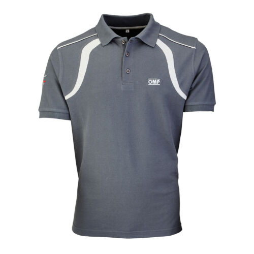 OR5905 OMP RACING SPIRIT POLO SHIRT COTTON FABRIC in WHITE or GREY S-XXL SALE