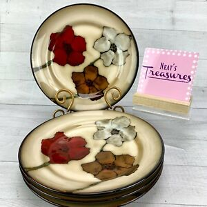 Pfaltzgraff-PAINTED-POPPIES-Stoneware-Floral-Brown-Tan-Salad-Lunch-Plates-Set-4