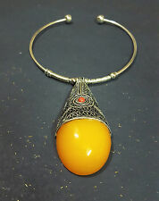 Ethnic FASHION Gypsy Amber Silver Tone Choker tribal  NECKLACE TIBETAN*****