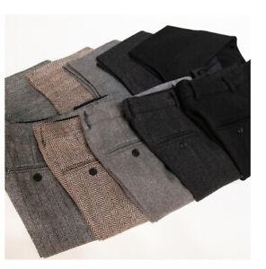 Mens-5-Colors-Herringbone-Wool-Tweed-Trousers-British-Slim-Warm-Straight-Pants