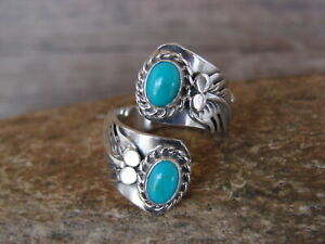 Navajo-Indian-Jewelry-Sterling-Silver-Turquoise-Adjustable-Ring