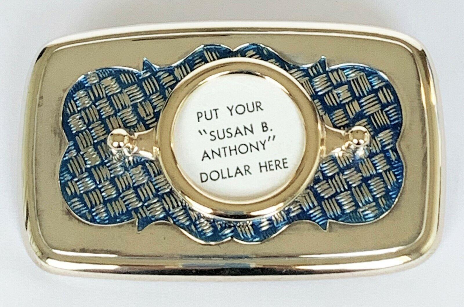 BELT BUCKLES Susan B. Anthony Dollar Coin Gold Blue Rectangle Screw Mount NWOT!
