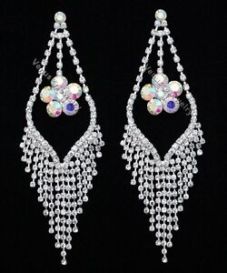"5/"" Bridal Wedding Pageant Crystal Chandelier Earrings"
