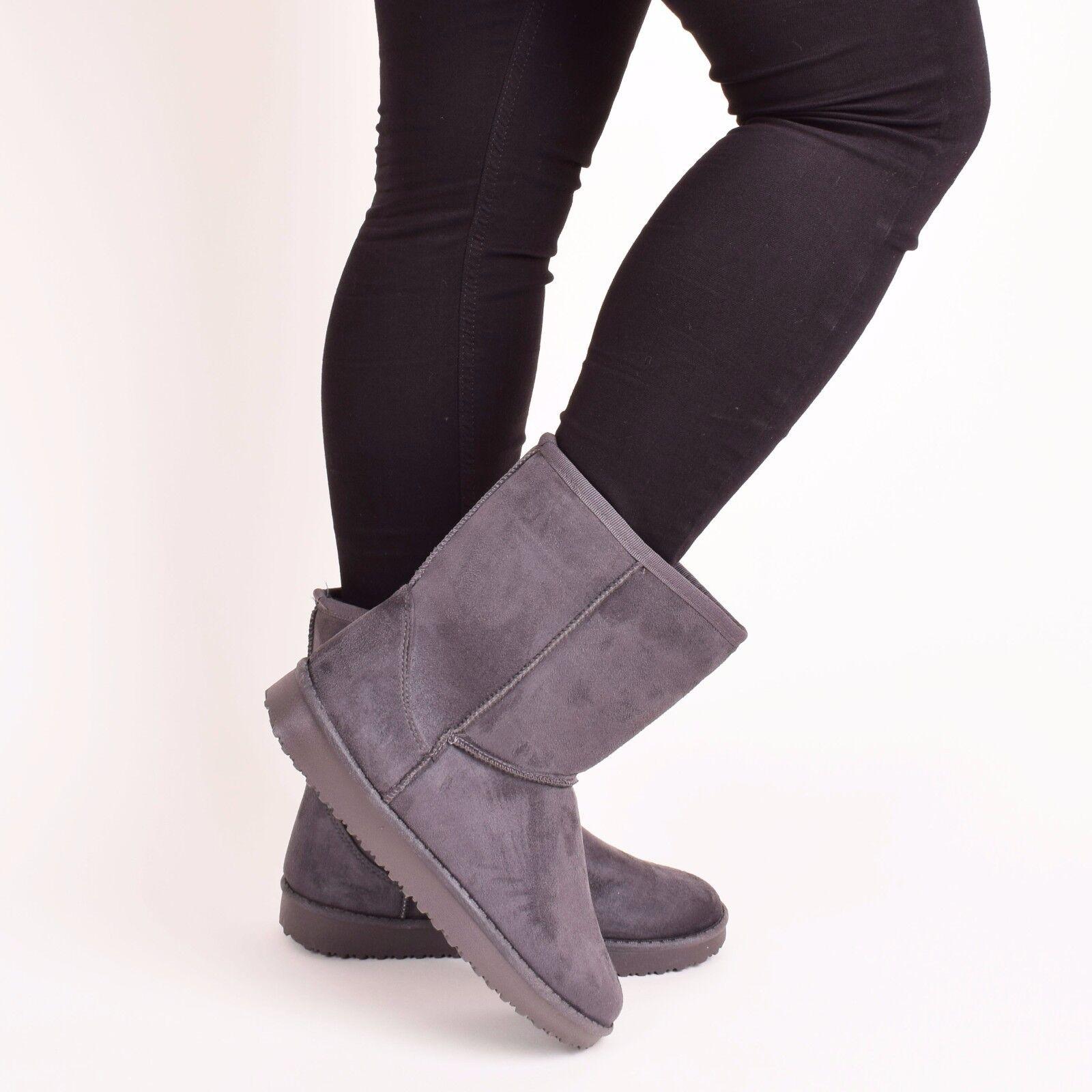 Ladies Mujer Fur Winter botas Snow Warm Fur Mujer Comfy Casual Mid Calf  Zapatos  Size 3-8 860c46