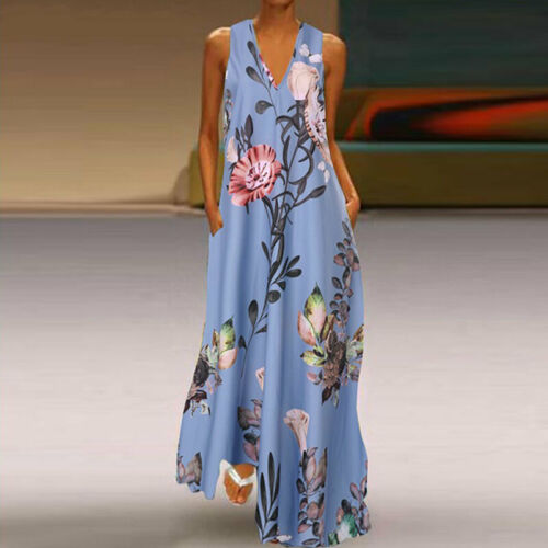 Women V-Neck Boho Dress Ladies Summer Floral Beach Party Long Sundress Size 8-22