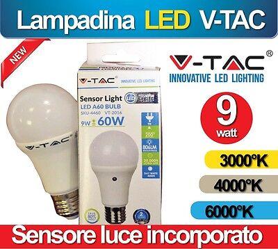 Lampadina Lampada Luce Led 9w V-tac Sensore Crepuscolare Esterno Calda 3000k