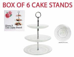 Image is loading 6-x-3-Tier-Glass-Cake-Stand-Afternoon-  sc 1 st  eBay & 6 x 3 Tier Glass Cake Stand Afternoon Tea Wedding Plate Party ...
