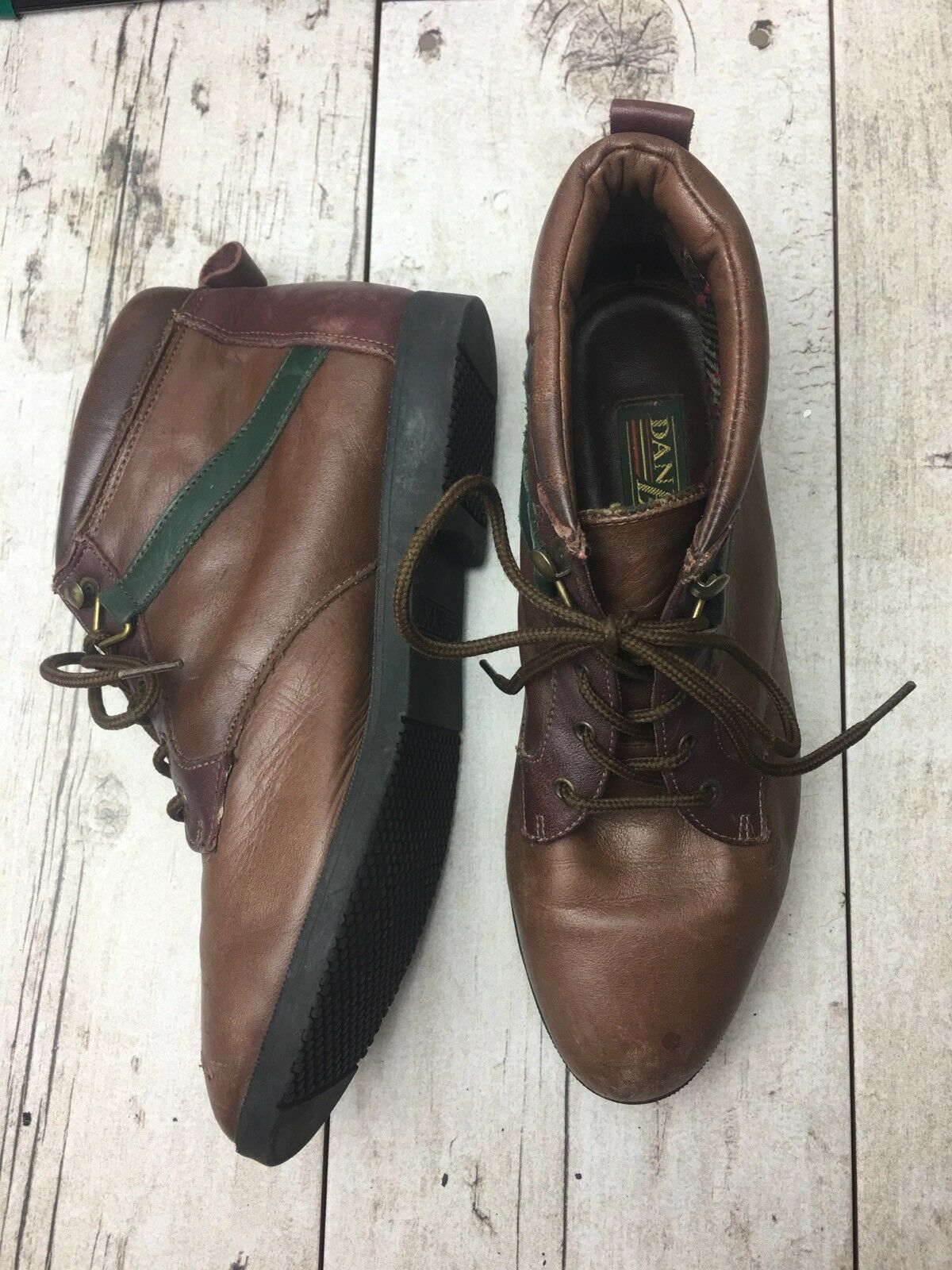 Danexx Boots Size 5.5 M Ankle Lace up Brown Green Red Leather Women's Kale 3