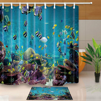 Beautiful Tropical Fish Shower Curtain Bathroom Waterproof Fabric