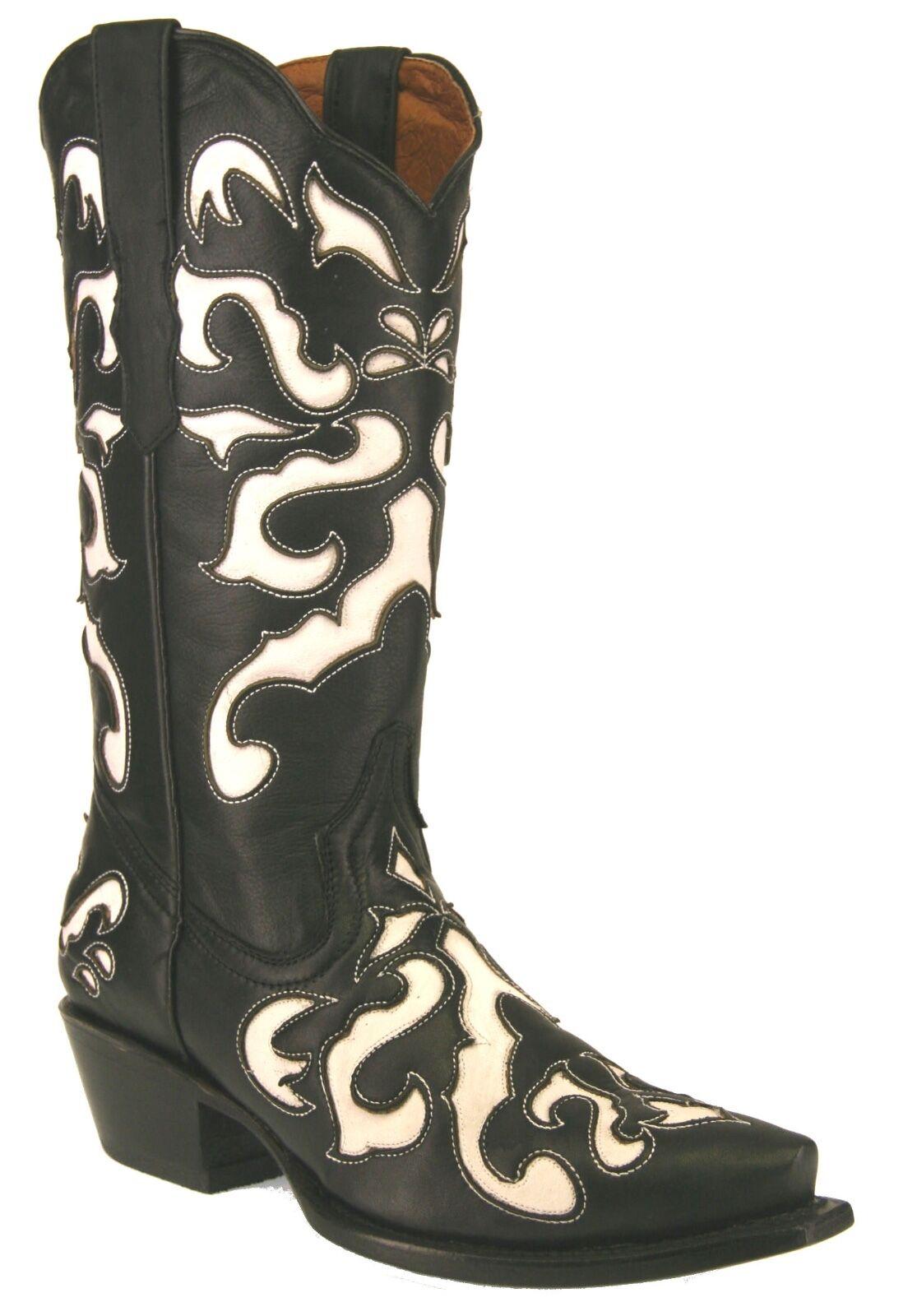 offrendo il 100% Donna  New Overlay Genuine Leather Cowgirl Cowgirl Cowgirl Western Biker stivali nero bianca  negozio fa acquisti e vendite