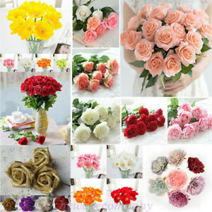 Artificial-Fake-Flower-Heads-Bride-Bouquet-Wedding-Party-Home-DIY-Decor-Gifts
