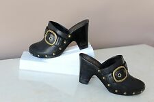 Coach Ileen Black Leather Buckle Studded Clog Heel Shoes Size 7.5M Wood Balance
