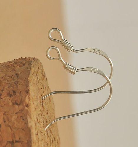 Por Mayor Plata Esterlina 925 50pc 18mm Plateado Ganchos Pendiente Oreja cables ***