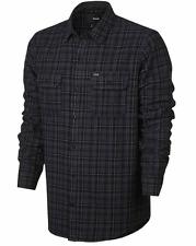 MEN'S HURLEY DAYTON FLANNEL BUTTON UP SHIRT BLACK GREY (MVS0002580 00A) XL