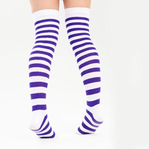 Women Teens Multicoloured Stripy Over Knee Socks UK Size 4-6.5