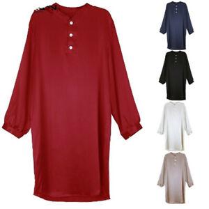 Mens-Satin-Long-Sleeve-Sleep-Shirt-Nightshirt-Nightgown-Pajamas-Loose-Pullover