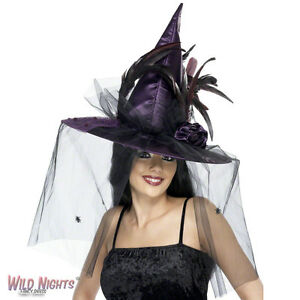 FANCY DRESS ACCESSORY # ADULT LADIES HALLOWEEN FEATHERED PURPLE WITCH HAT