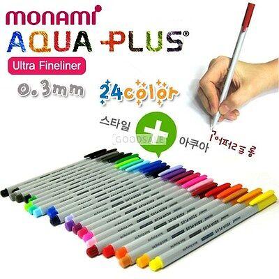 MONAMI Aqua Plus Ultra Fineliner Quick Drying Ink 0.3mm 24color (ANY 5 PENS)