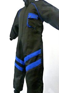 Kids-Pit-Crew-Speed-Demon-Mechanic-Style-Childrens-Cloth-Overalls-Black-Blue-T