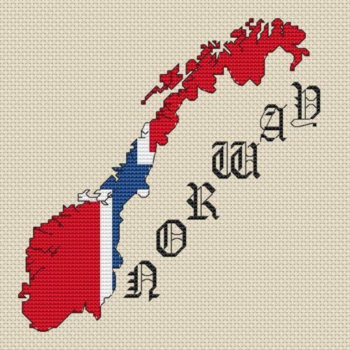 """La Norvegia Mappa /& Bandiera Cross Stitch design 15x15cm, 6x6/"""", KIT o grafico, 14hpi"""