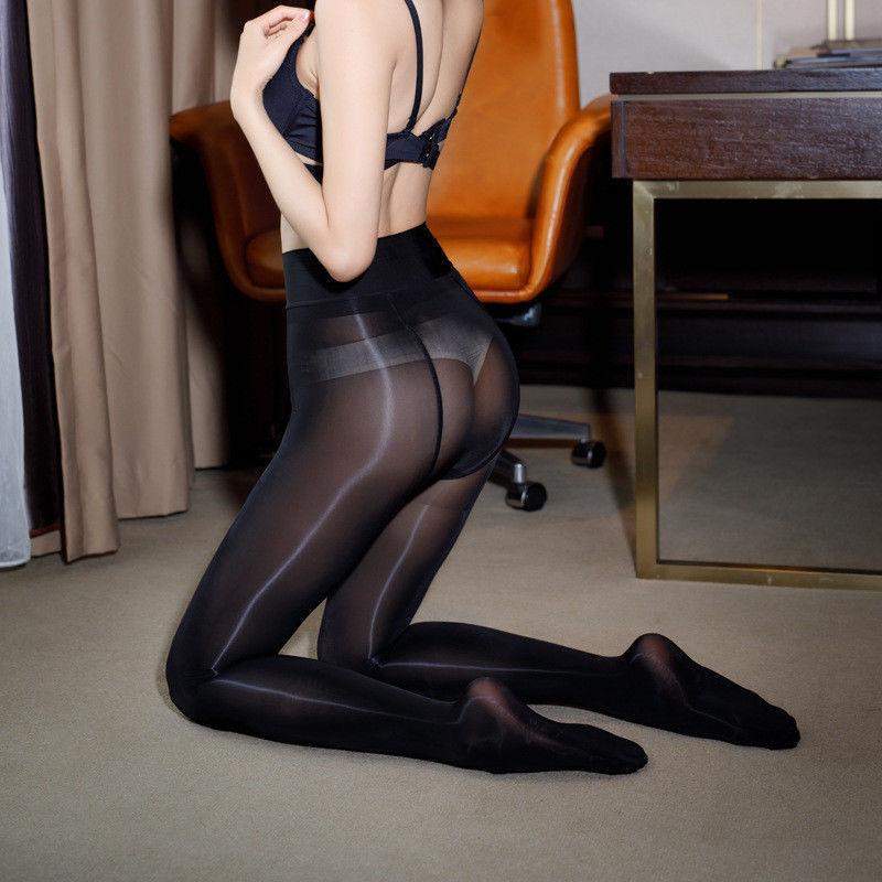 Plus Size Damen Glanz Strumpfhosen Super Shiny Glossy Pantyhose Hochglanz Tights