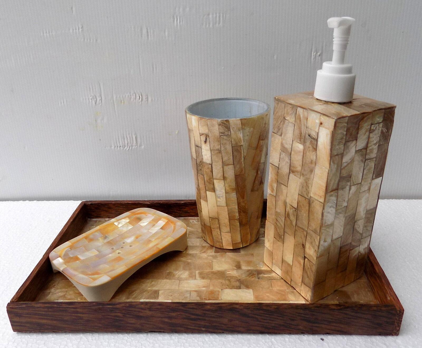 Set badezimmer perlmutt Gold mit tablett spender soap-tür zahnbürste | Export