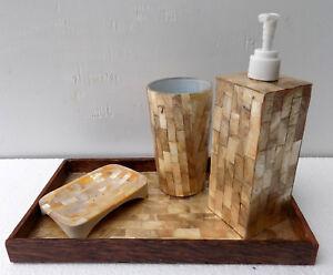 Set bagno in madreperla oro con vassoio dispenser porta sapone porta ...