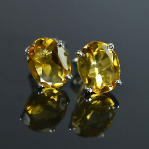 925-Sterling-Silver-9x7-mm-Oval-Cut-Natural-Gemstone-Yellow-Citrine-Stud-Earring