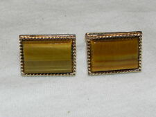Estate Tiger Eye Cuff Links Rectangular Deco Style Twisted Gold Tone Metal