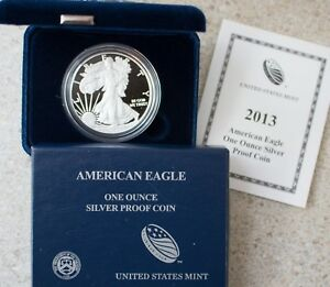 2013-AMERICAN-SILVER-EAGLE-PROOF-DOLLAR-US-Mint-ASE-Coin-with-Box-and-COA