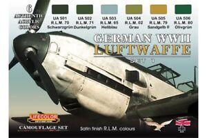 LifeColor CS06 German WWII Luftwaffe Set 1 6x 22ml Acrylic Colours