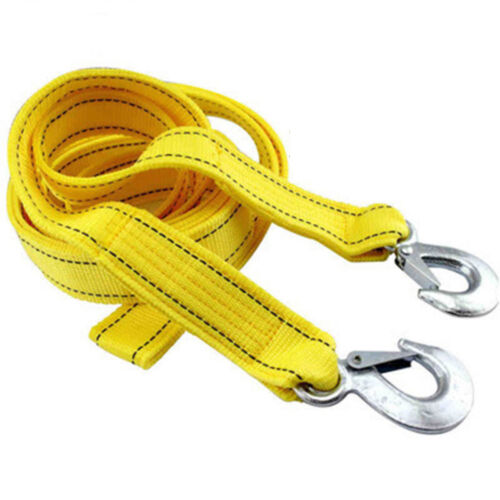 Heavy-Duty 5 Tons 13ft Car Tow Rope Cable Towing Strap With Hooks Emergency
