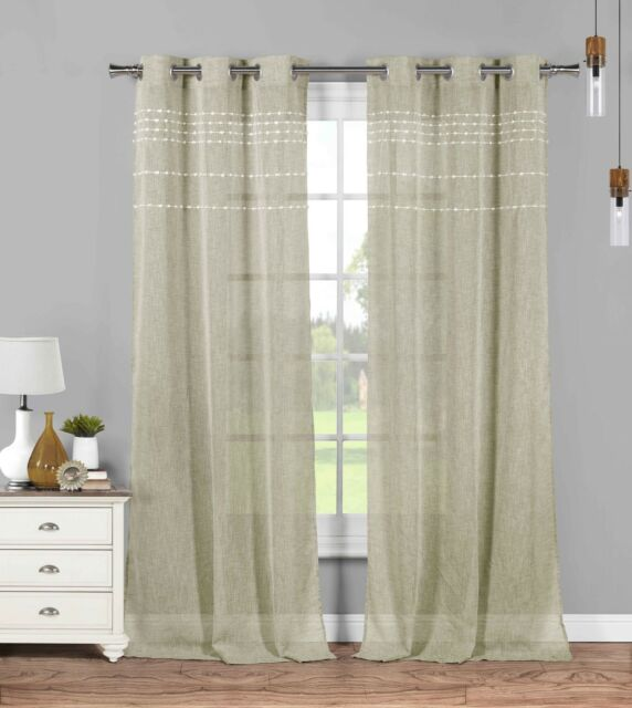 2 Linen Sheer Grommet Curtain Panels: Linen with White Stripes &Tufts, 76W x 84L