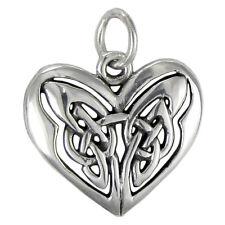 Sterling Silver Celtic Love Knot Heart Pendant Charm Irish Knotwork Jewelry