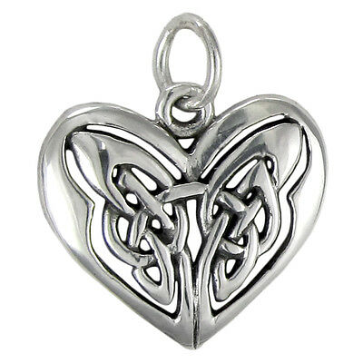 Celtic Knot Heart Pendant .925 Sterling Silver Trinity Charm