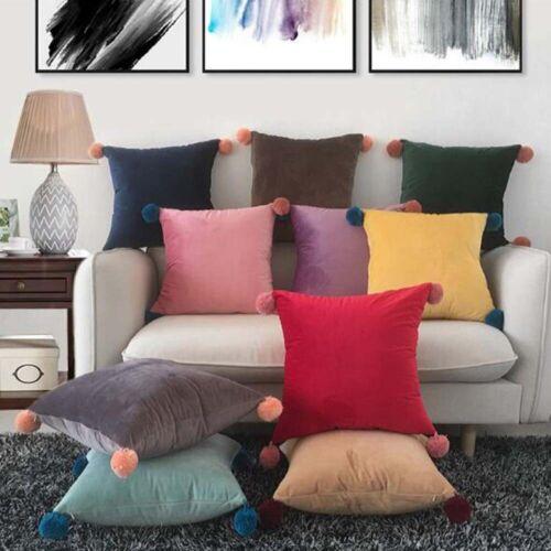 Throw Pillow Case Cushion Cover Faux Fur Pom Pom Velvet Fluffy Sofa Decor