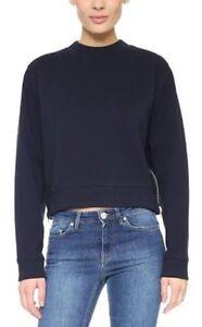 ACNE-STUDIOS-Blogger-Favourite-Navy-Crop-Bird-Paw-Sweat-Fleece-Pullover-Size-L
